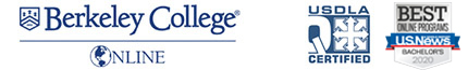 Berkeley College Online logo and US News badges