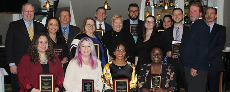Photos of Berkeley College Associates with their Associate of the Year Awards