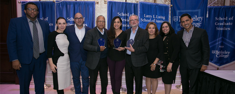 Photo of Berkeley College employees at the Faculty Awards Dinner