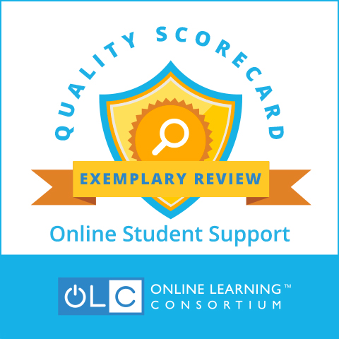 Online Learning Consortium logo: Quality Scorecard Exemplary Review Online Student Support