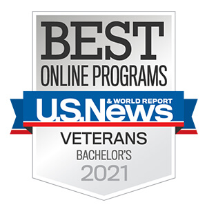 U.S. News and World Report logo for Best Online Bachelor's Programs 2021