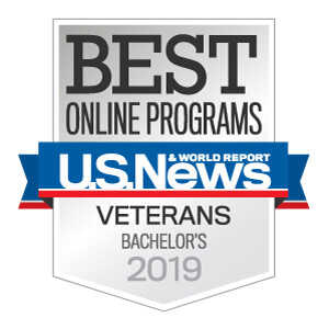 U.S. News and World Report logo for Best Online Bachelor's Program for Veterans 2019