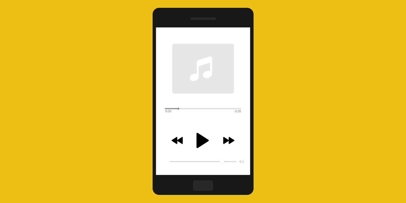 Image of cell phone with music playlist