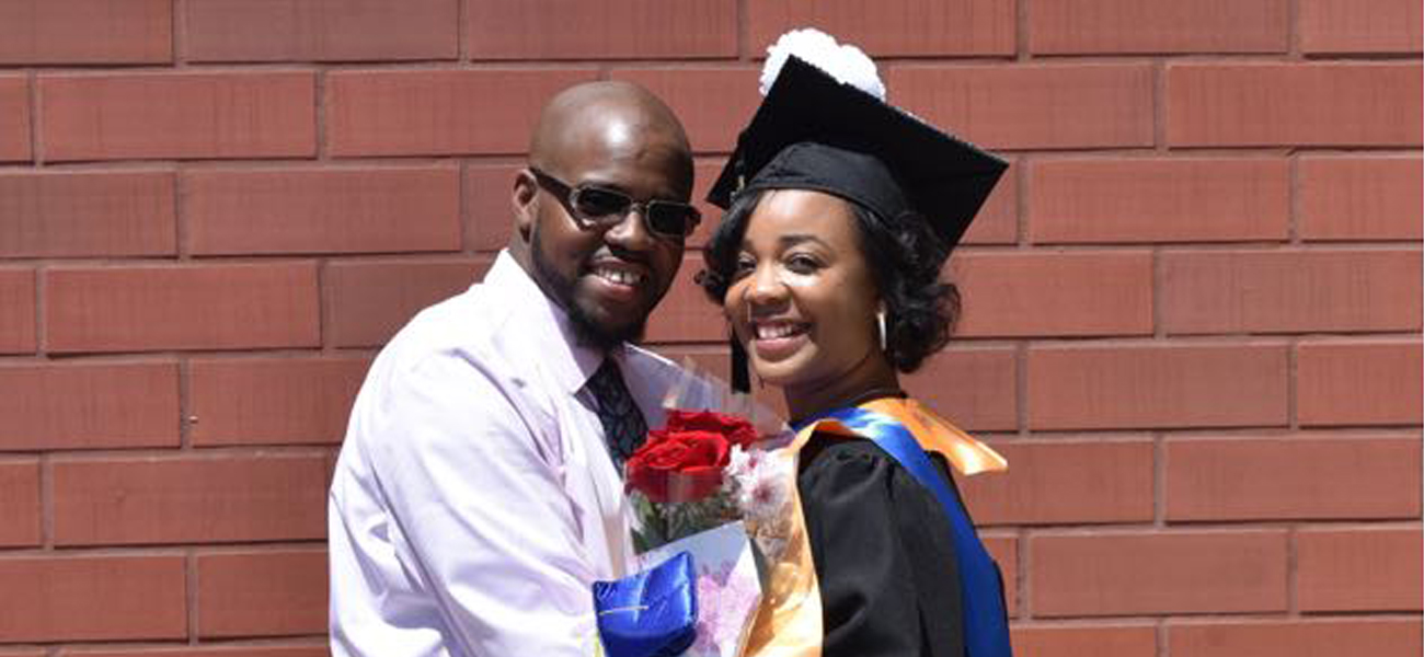 Darnella Harris with her fiance on graduation day