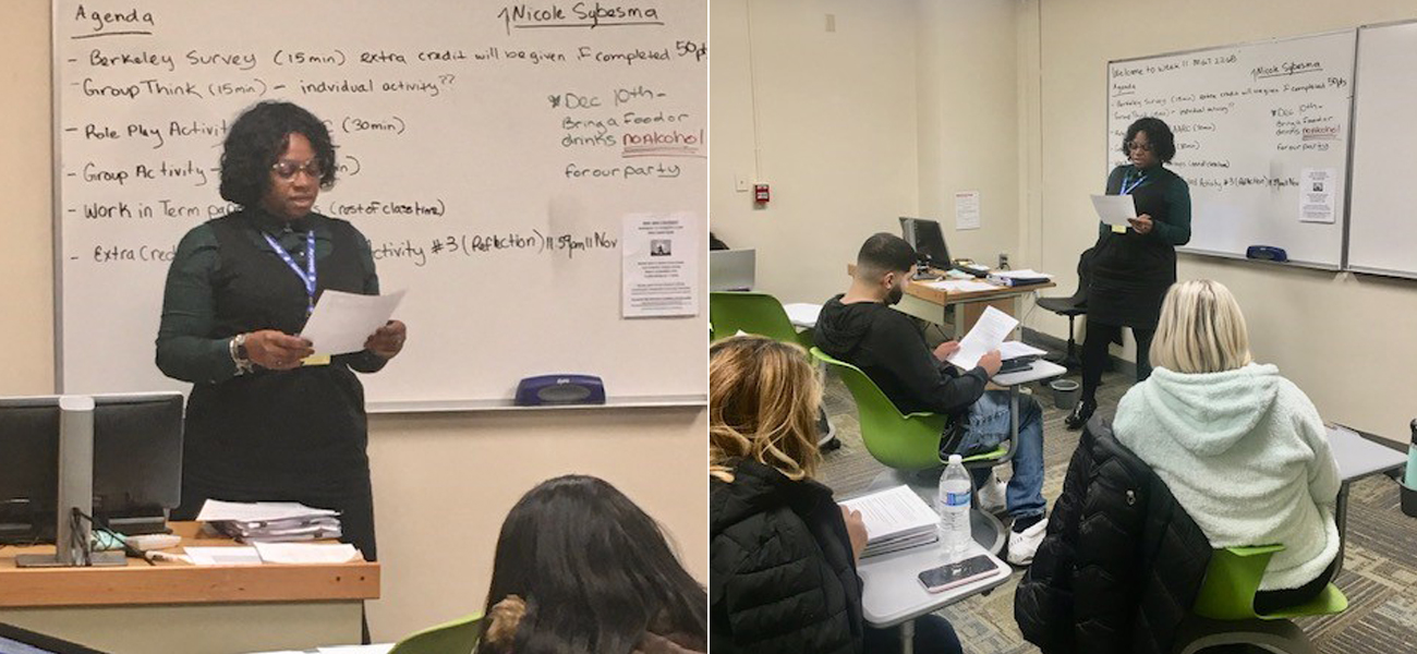 Photos of Demetria Foster teaching in front of a class