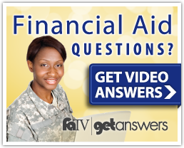 FATA get answers banner: Student wearing military attire on a laptop. Financial Aid Questions? Get video answers. FATV get answers logo.