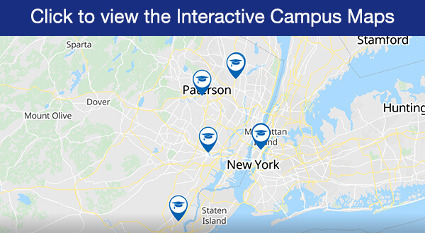 Image of campus map with text: Click to view the Interactive Campus Maps