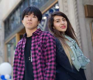Photo of Berkeley College international students in front of New York City Midtown campus. mobile image