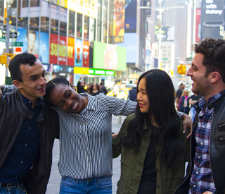 Group of international students in Time Square