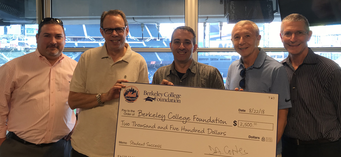 Mets Radio Network and the Berkeley College Foundation check presentation