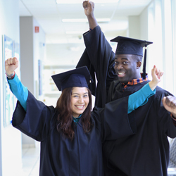Military students in cap and gown