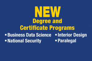 New Degree and Certificate Programs: Business Data Science, Paralegal, National Security, Interior Design