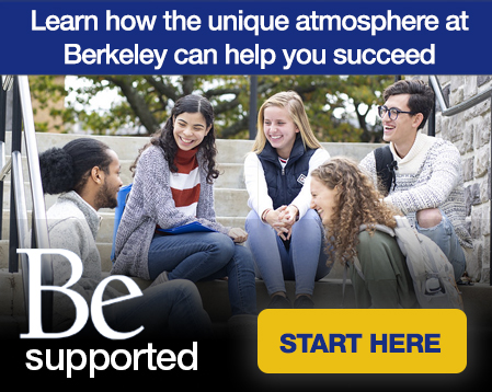 banner with a group of Berkeley College Students