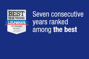 Seven consecutive years ranked among the best online Bachelor's Degrees for Veterans by U.S. News and World Report