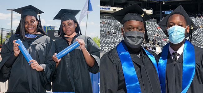 picture sytudents at the commencement ceremony. of Myesha and Tyesha Wilson who are fraternal twins and Ja'Van and Ja'Von Drakeford who are identical twins